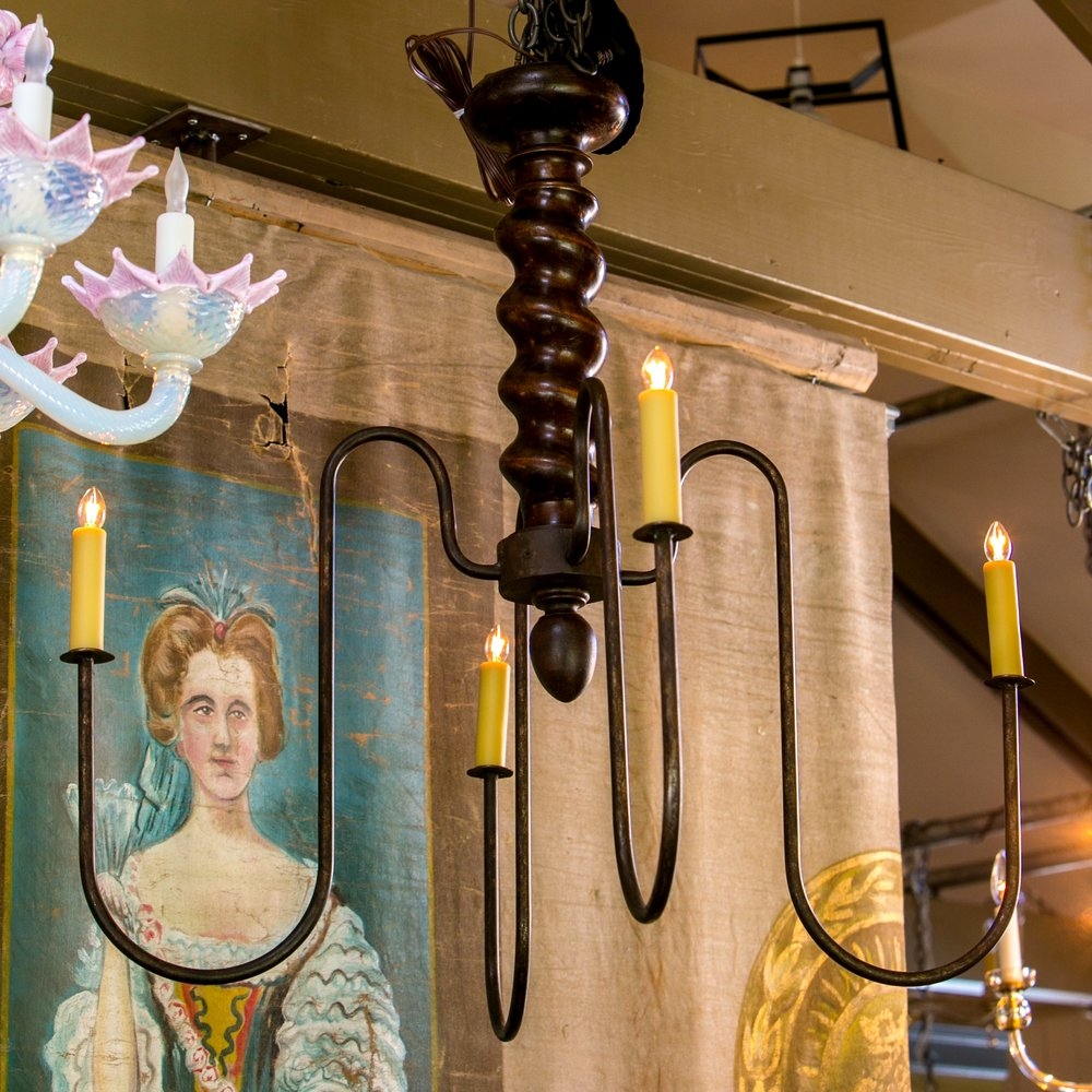 Wooden Barley Twist Iron Arm Chandelier