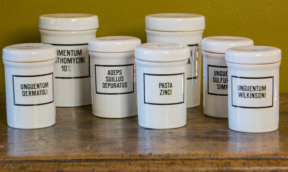 Set of Seven Ironstone Pharmacy Jars