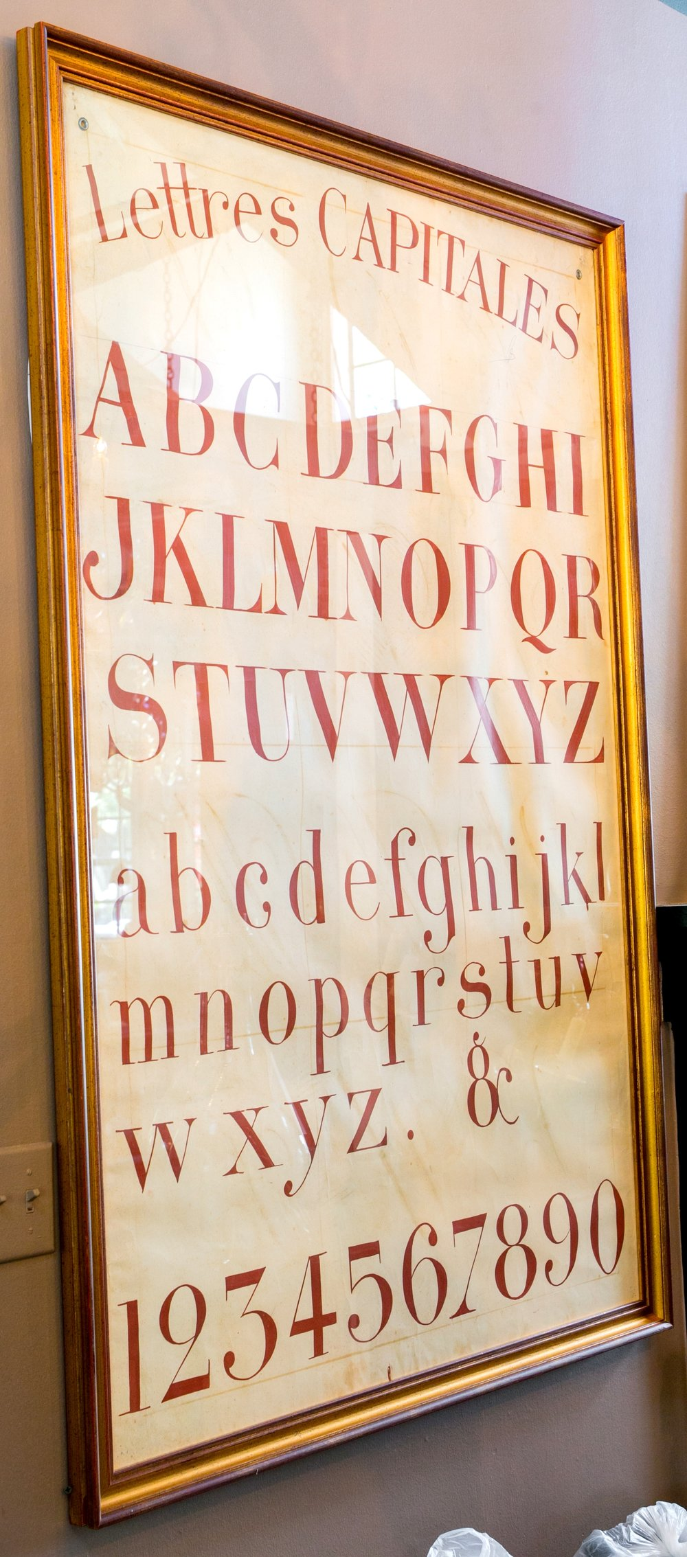 Hand-painted very graphic alphabet chart featuring capital letters in French.