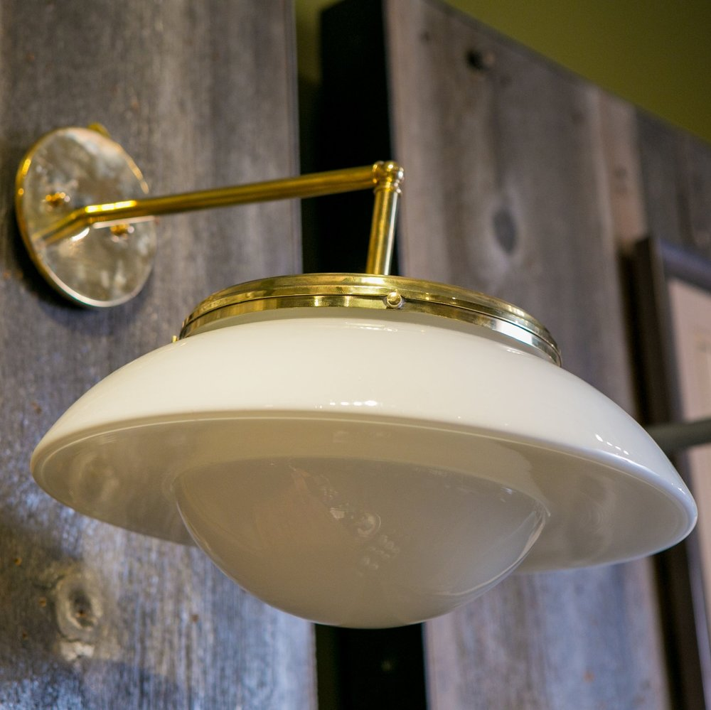 Five Vintage Modern Milk Glass on Brass Sconces