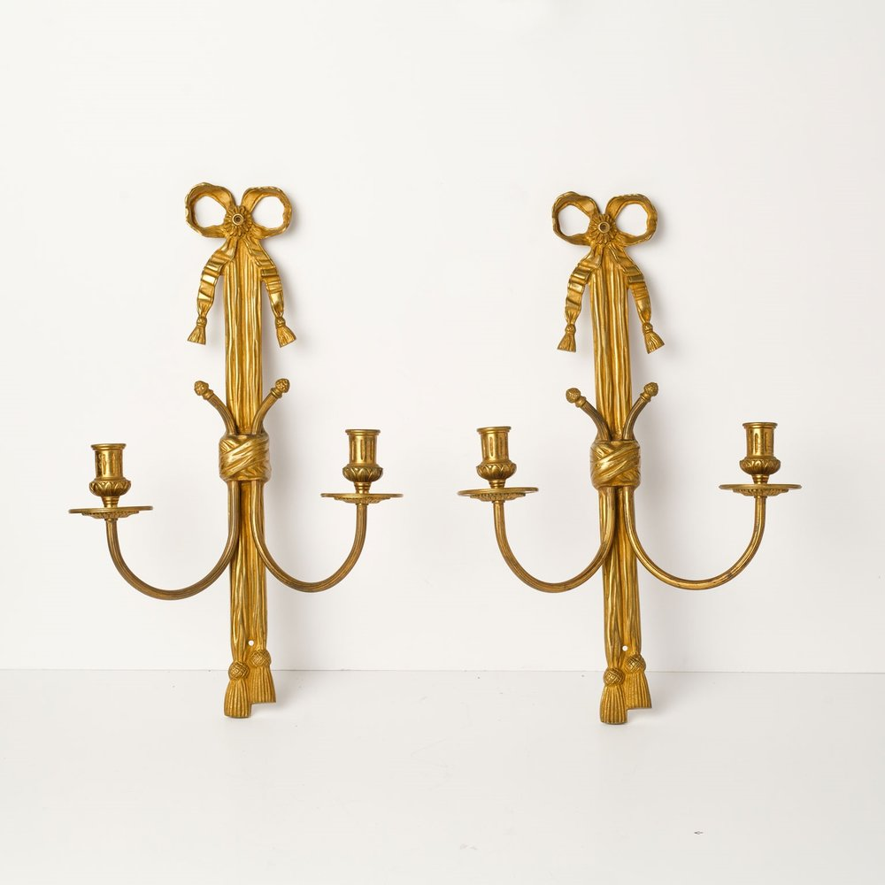 Pair of Gilt Bronze Rope Sconces