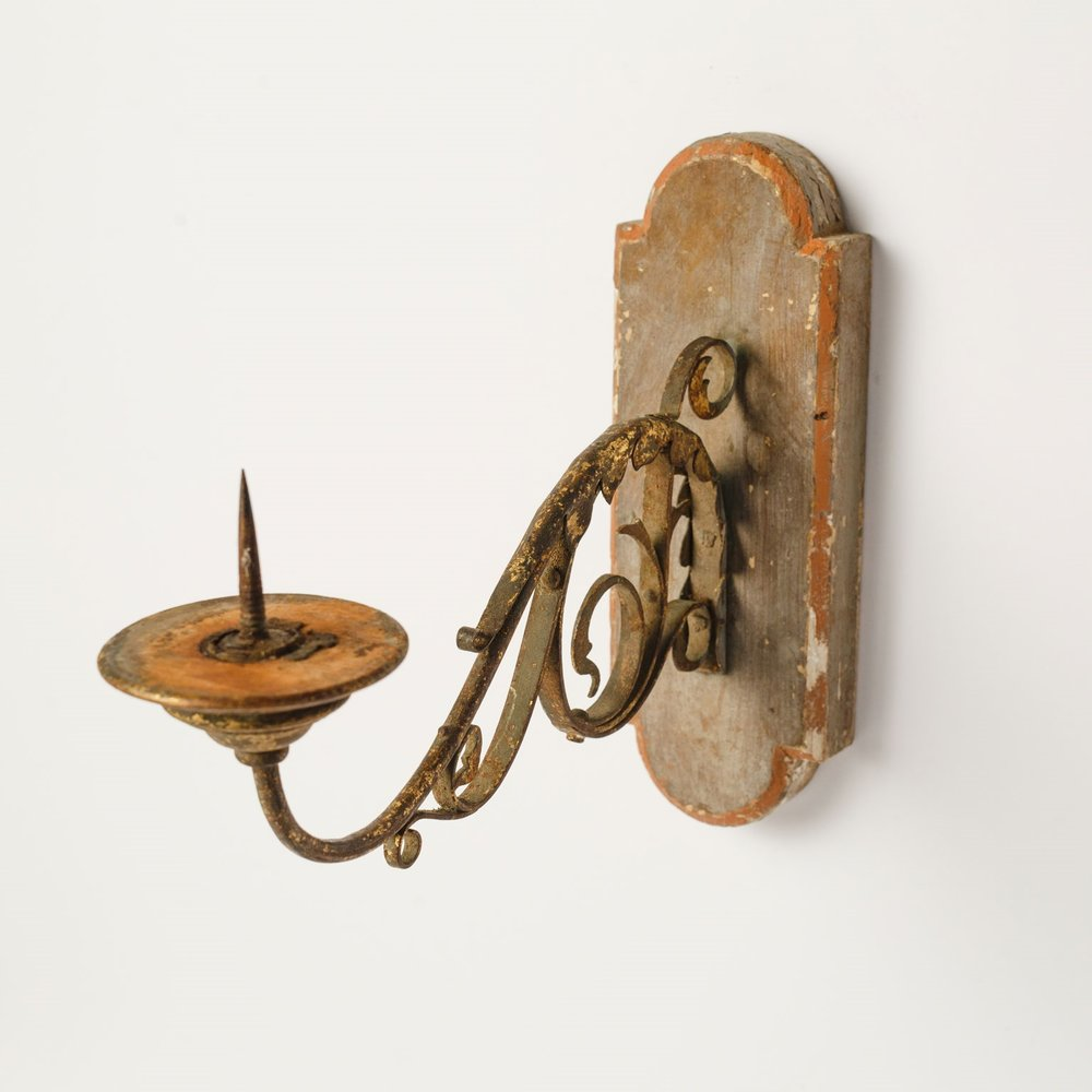 Exquisite Wood and Iron Sconce