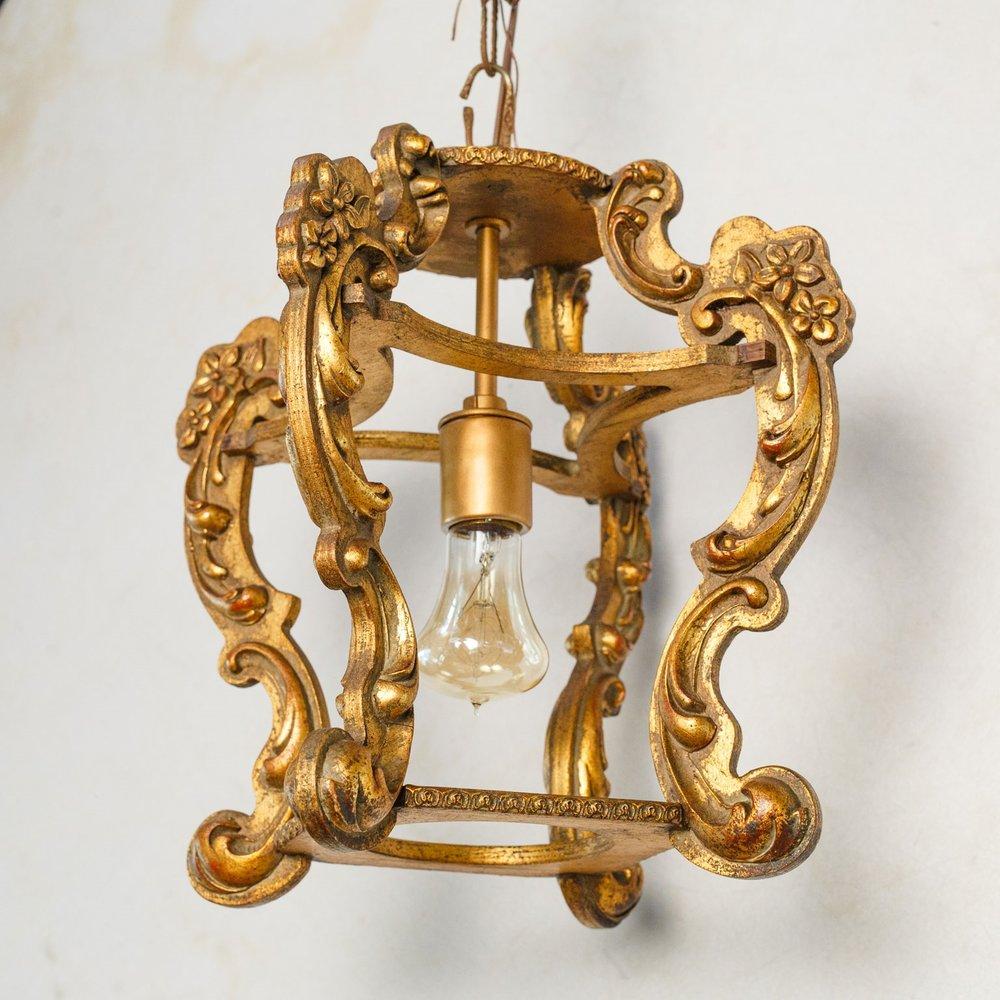 Hand-carved Giltwood Italian Lantern