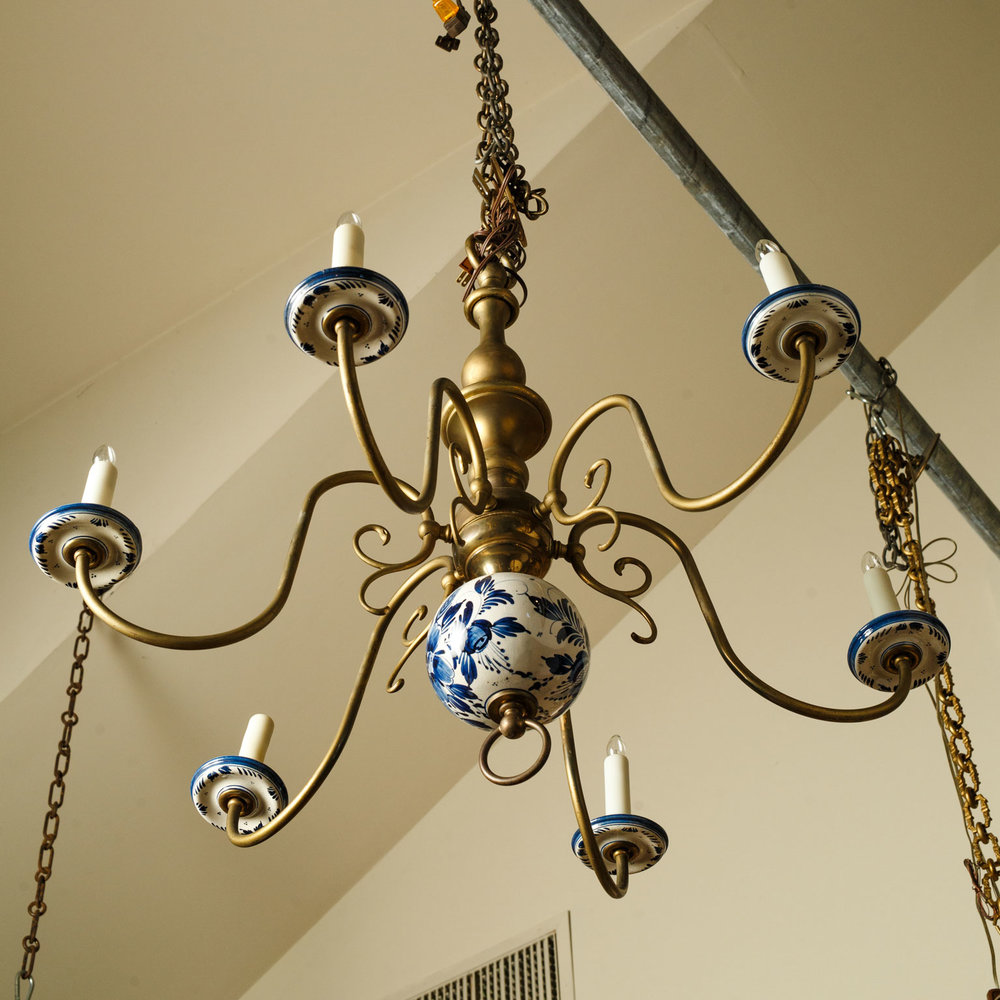 Spectacular Delft and Bronze Chandelier