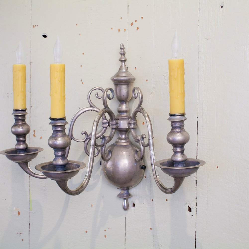 Vintage Silver Colored Three Arm Flemish Sconce