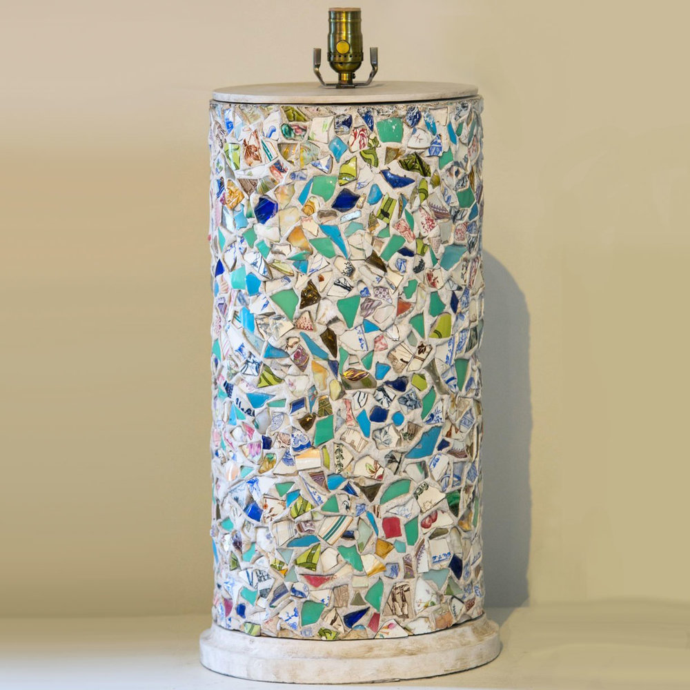 "French Broken Plate ""Pique-Assiette"" Mosaic Table Lamp, circa 1940"