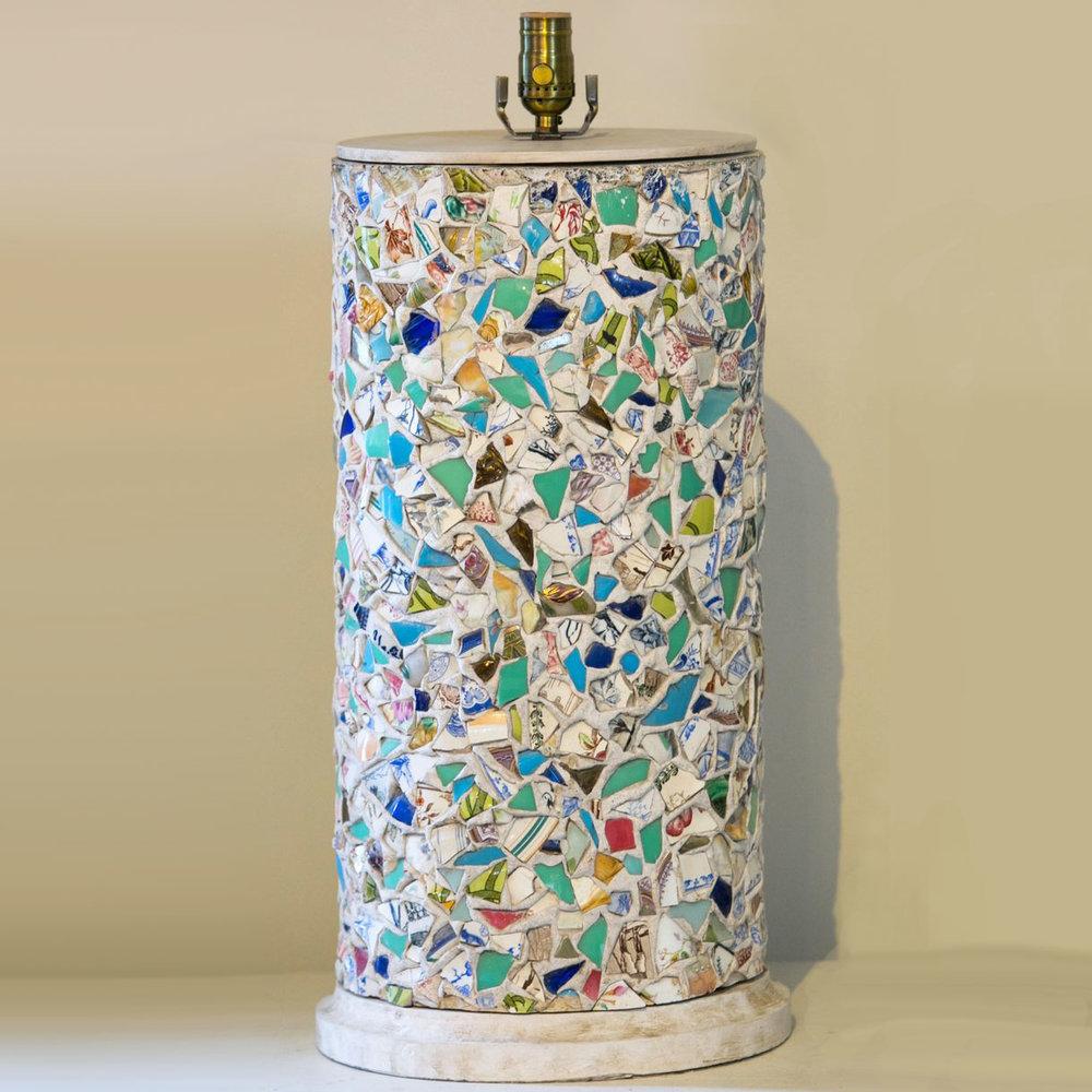 "French Broken Plate ""Pique-Assiette"" Mosaic Table Lamp, circa 1940"