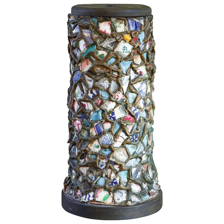Hand-Made Porcelain China Mosaic Table Lamp, circa 1940