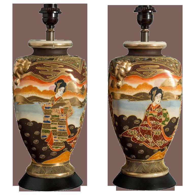 Pair of Japanese Satsuma Table Lamps