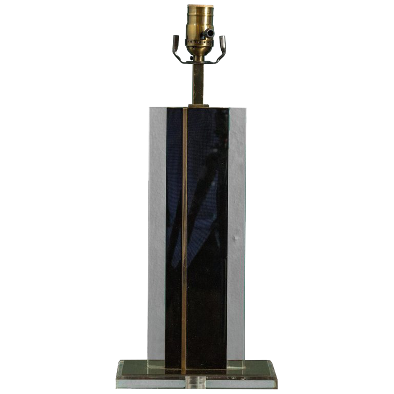 Mid-Century Brass and Glass Lamp