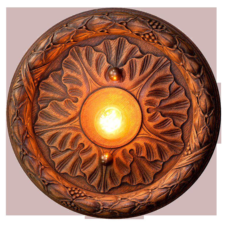 Belgian Wooden Flush Mount Light