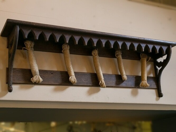 Antique Wooden Gothic Wall Shelf with Hooks