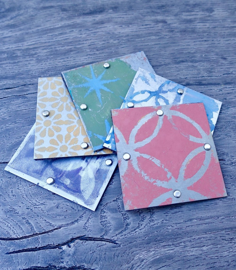 "Coasters. 3""x 3"". Set of 5. At Ten Women Gallery."