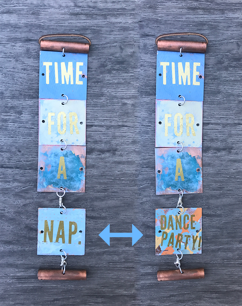 """3""""w x 13"""". TIME FOR A NAP/DANCE PARTY! Bottom tile swivels between """"nap"""" and """"dance party!"""" depending on your mood."""