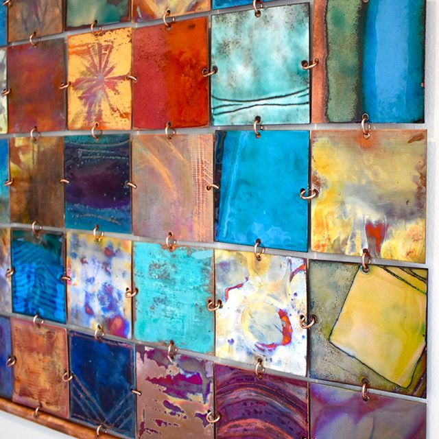 And here's the finished #metalmosaic !  #handmade #copper  #art #oneofakind #wallart #madeinsantamonica #interiordesign #officedecor #instadesign #patina #heatpatina #vitreousenamel #artsy #texture #paint #abstractart #tenwomenartists #montanaavesm  #yay #santamonica #makersgonnamake