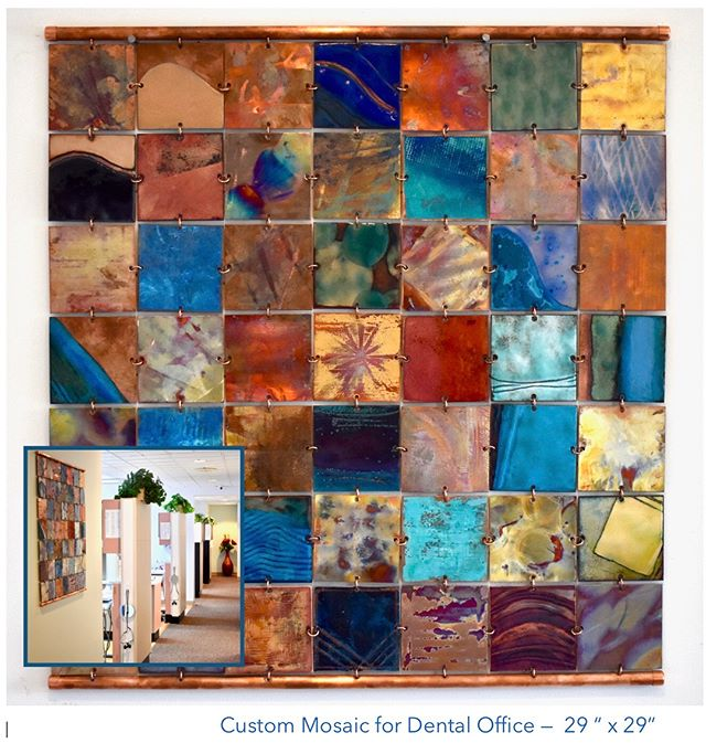 "Custom work is exciting, whether it's for homes, offices, restaurants or TV/film sets!  Here is the metal mosaic for Hale & Hale DDS in situ. 29"" x 29""  #custom #enamelled #copper #metalmosaic #wallart #madeinsantamonica #office #interiordesign #bespoke #handmade #artsy #art #abstractart #tenwomenartists #santamonica #happy #summer #metalsmithing #instaart #metalart #restaurantdecor #setdecorator #tilestyle #modernhome #interiordecorating"