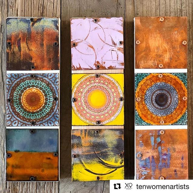 Thanks, @tenwomenartists and @annedinan — these mandala tiles were so much fun to make.  #Repost ・・・ Add a kaleidoscopic pop of color to your home or office with a metal mosaic by @debrabard! Check out her new line of richly colored, multi-layered enameled (glass) mandala tiles she created in her Santa Monica studio. Mounted on wood, they can be hung vertically or horizontally and grouped together. Great for hostess and holiday gifts too!  #enameled #copper #metalmosaic #wallart #madeinsantamonica #office #interiordesign #handmade #artsy #art #abstractart #santamonica #kaleidoscope #mandala #metalsmithing #instaart #metalart #restaurantdecor #setdecorator #tilestyle #modernhome #interiordecorating #buylocalsm