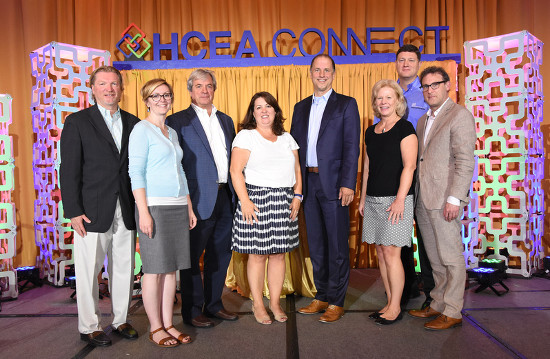 Pictured, left to right: Don Schmid, Past President, HCEA; Jeannie Wert, Vice President, HCEA; Kyle Wood, President, HCEA ; Amy Lotz, Executive Director, HCEA; Randy Acker, President, Chief Operating Officer, Exhibitor Media Group; Sue Huff, Treasurer, HCEA; Sean Feehan, Secretary, HCEA; Gregg Lapin, President-Elect, HCEA.