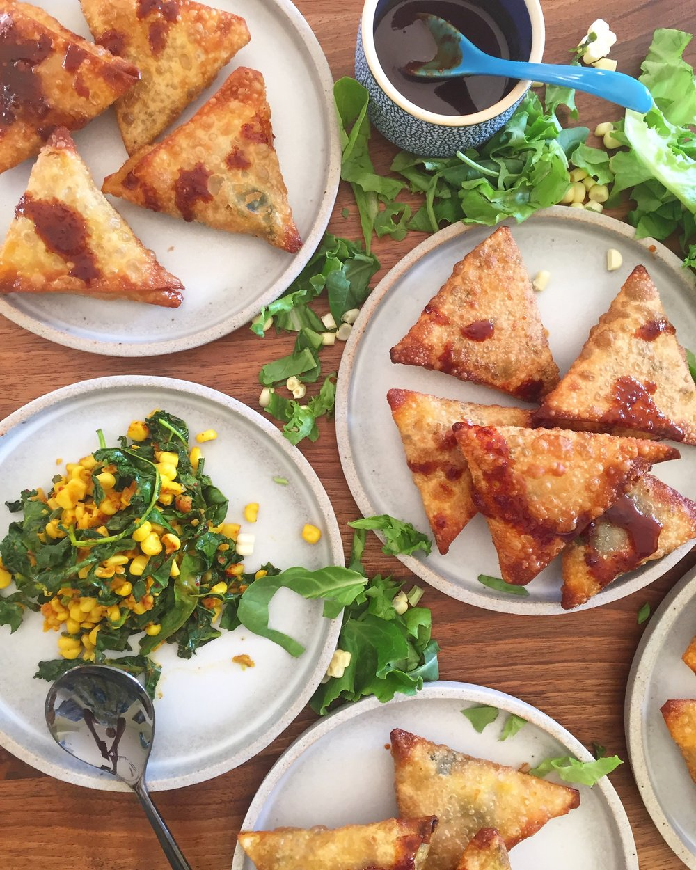 kale & corn turmeric samosas.