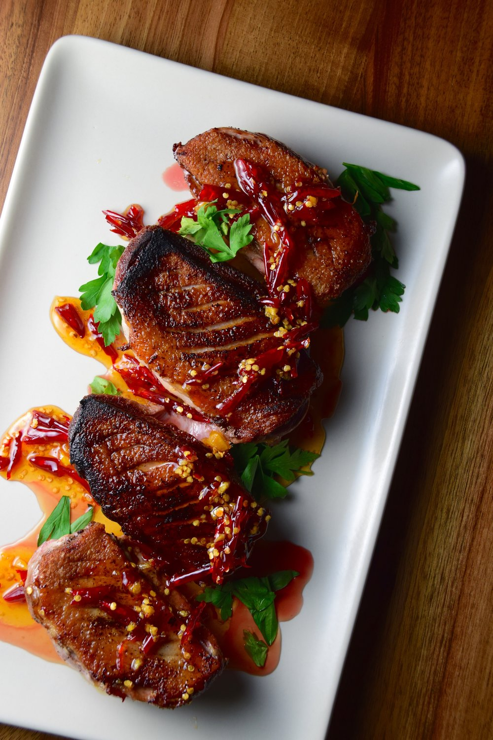 chile jam + crispy duck breast.