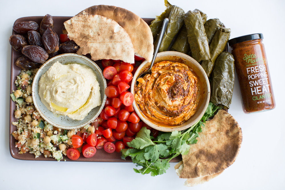 mezze platter with hummus & flatbread.