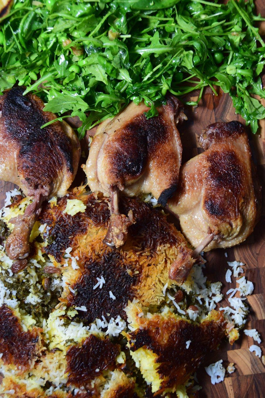 turmeric duck confit + crispy rice (tahdig)