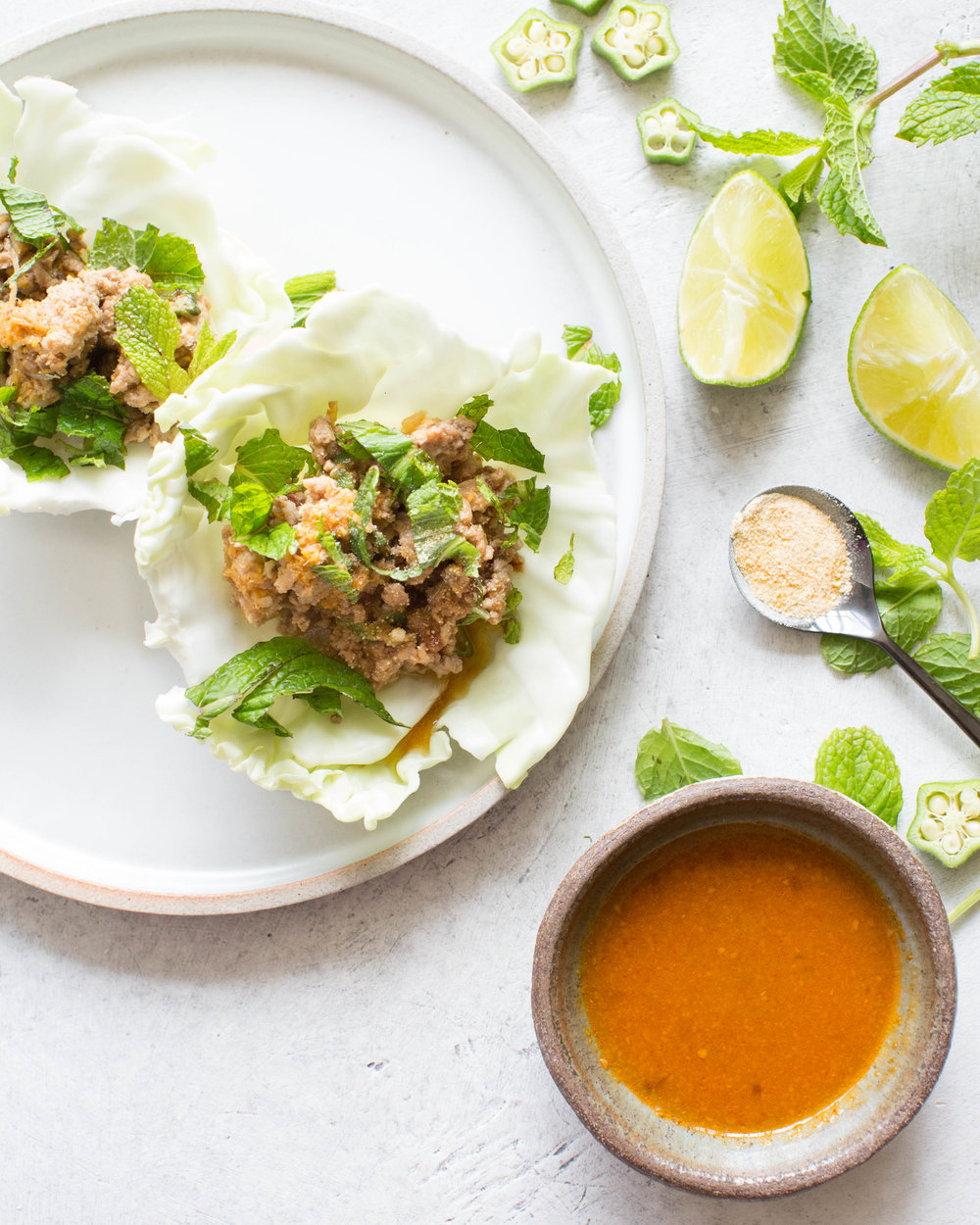 ginger larb cabbage cups.