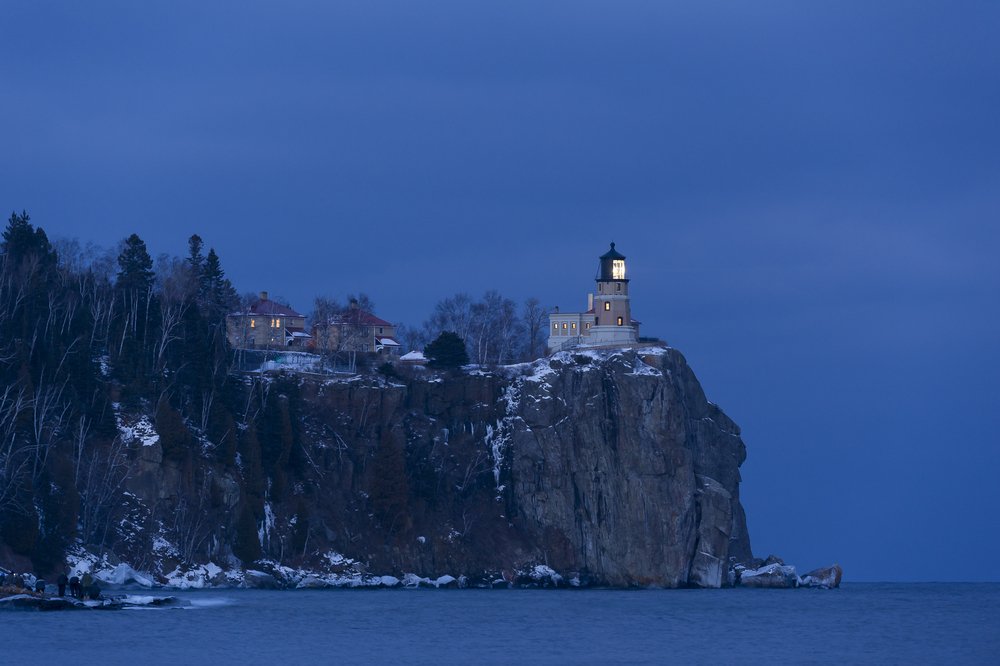 Split Rock Lighthouse lit up.