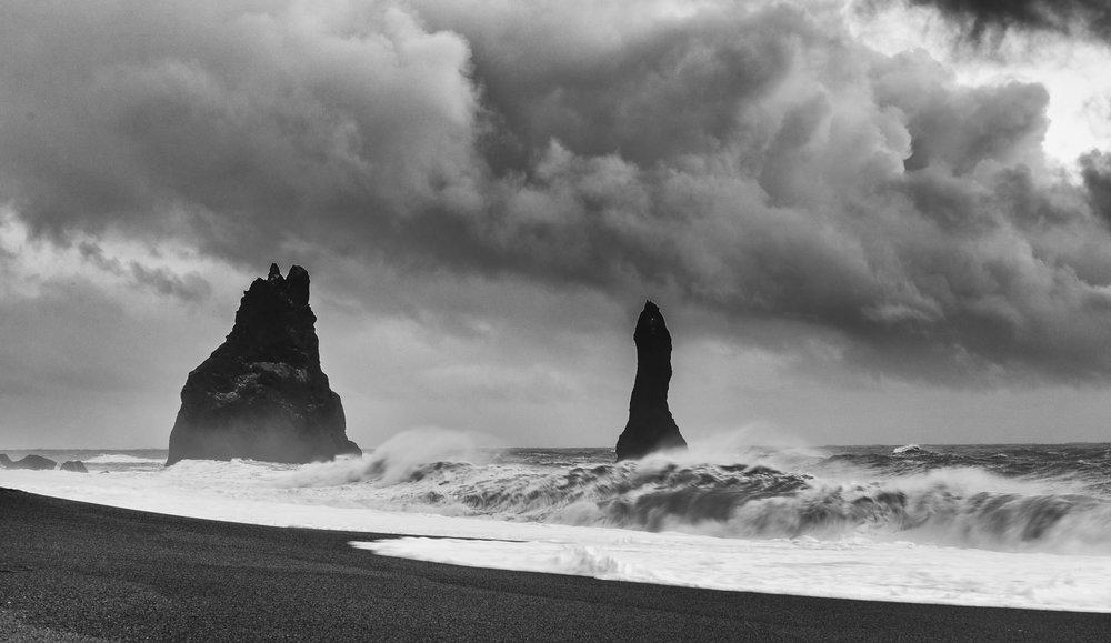 Winter storm over Reynisfjara Black Sand Beach.