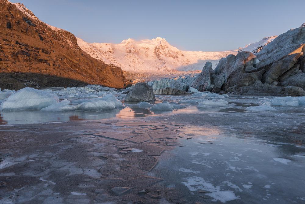 Glacier at sunset. Skaftafell National Park.