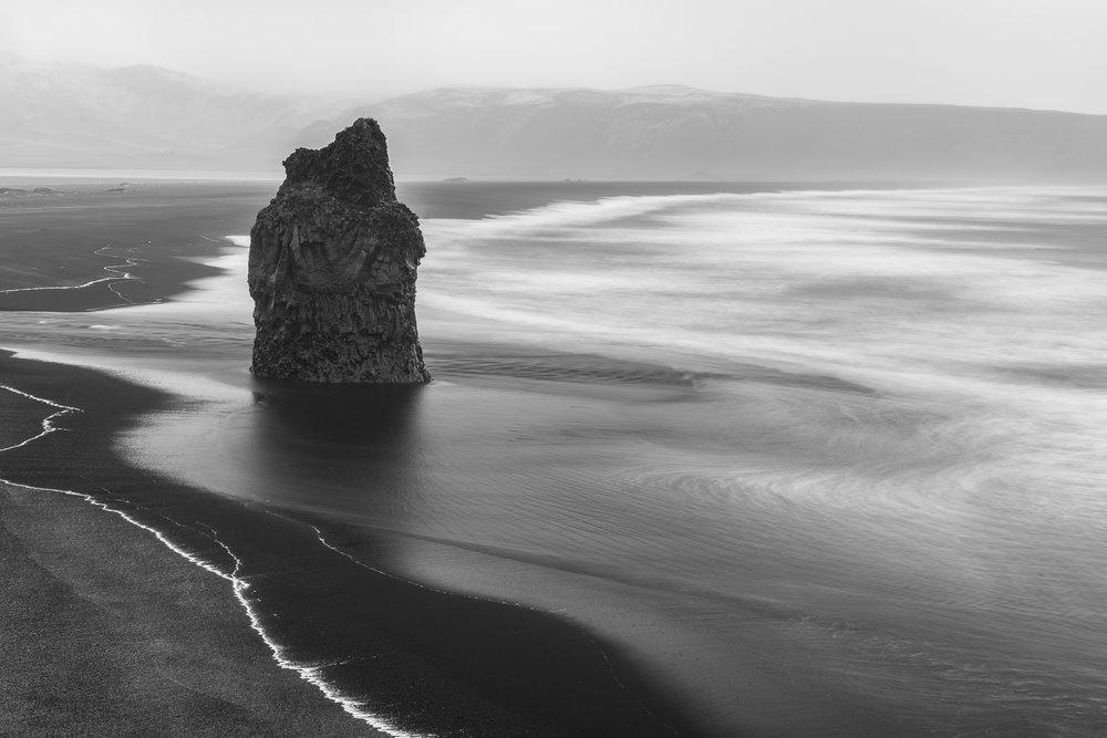 Sea stack on Dyrhólaey Beach.