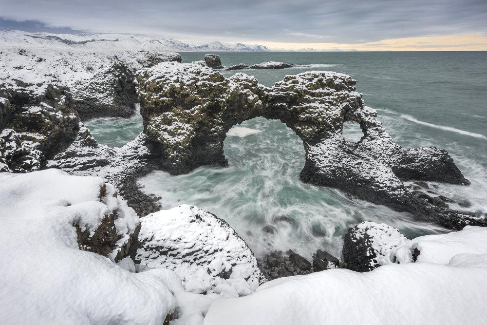 Arch in volcanic rock. Anarstapi.