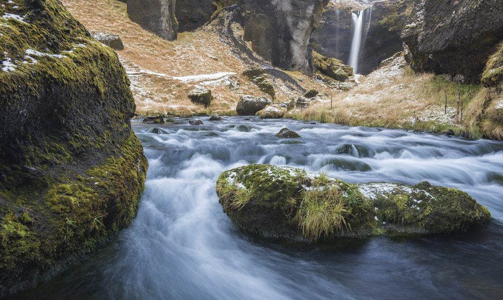 Waterfall near Skógar. Southern Iceland.