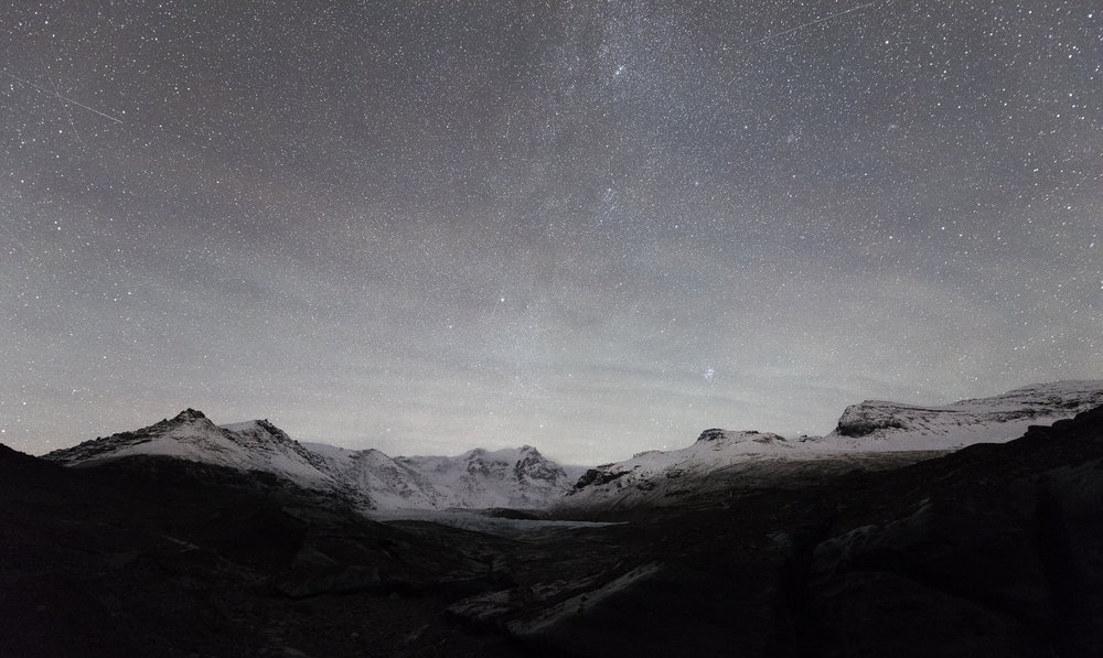 Meteors and Milky Way. Skaftafell National Park.