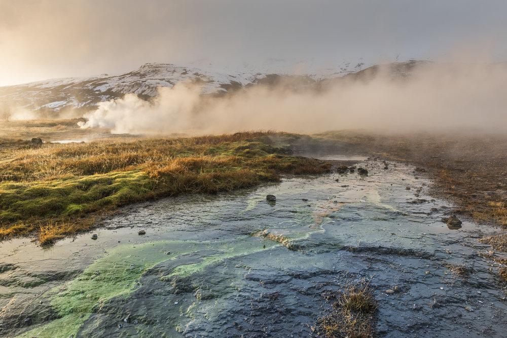 Geothermal activity. Geysir Hot Spring Area.