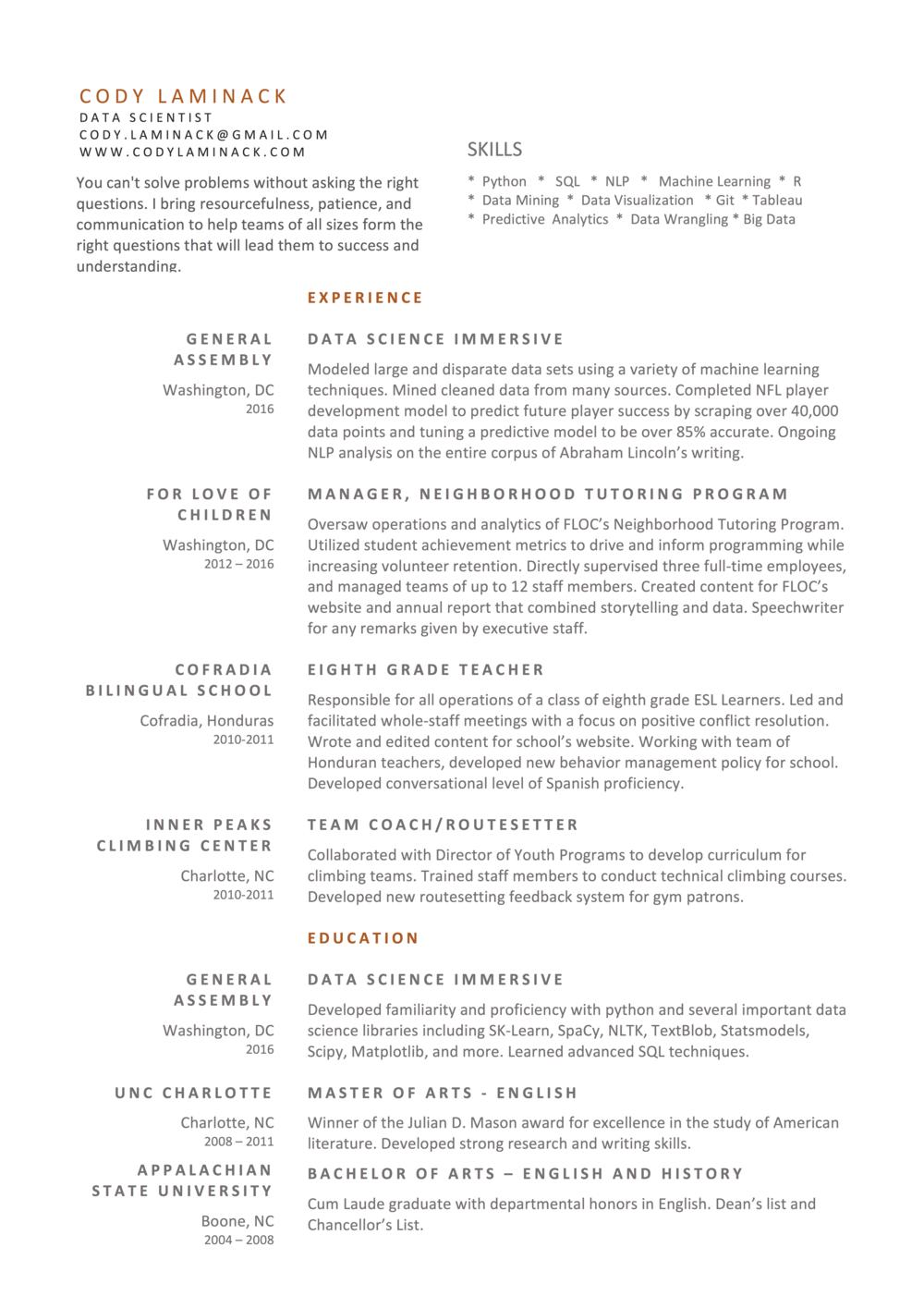 resume - Data Science Student Resume