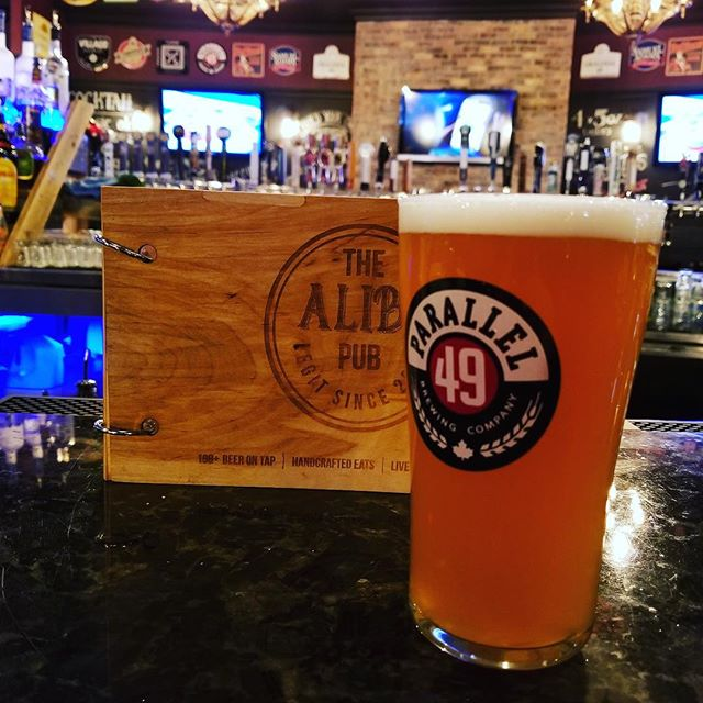 Parallel 49's limited edition beer Hazy Train is now available at The Alibi Pub.  Following up Juice Bigalow, Hazy Train is the second iteration of our bolder series of Hazy IPAs. Using a malt bill of pilsner, wheat, oat and victory malts, this IPA supports big hop aromas with a creamy mouthfeel and subtle notes of toasty biscuit. Heavily dry-hopped with Mosaic, Galaxy, Columbus and Centennial, the hop profile is of tropical and citrus fruits and the additional use of Mosaic Lupulin powder punches up the fruity notes to a even higher level.  ABV 7%  IBU 59  #beerlove #thealibipub #over100beersontap