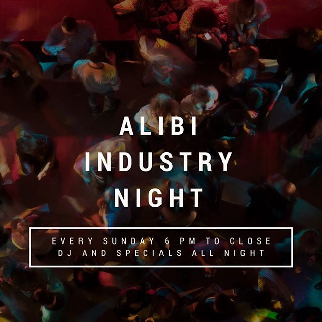 The Alibi Pub has Industry Night every Sunday. Join us for 25% off appetizers and over 100+ beers on tap. #industrynight #thealibipub