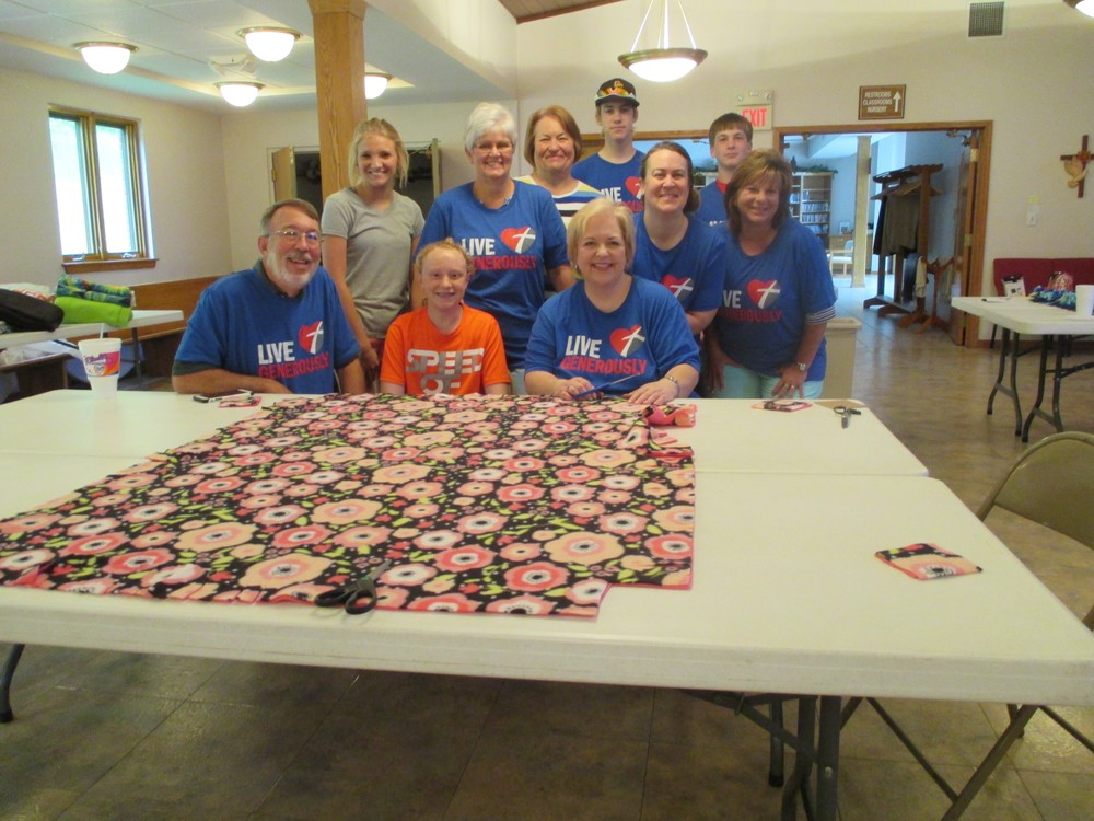 The Fiehler Family spent time serving as a family making blankets for Phil's Friends!