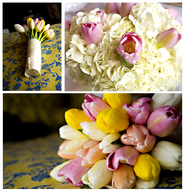 A March wedding with simple tulips