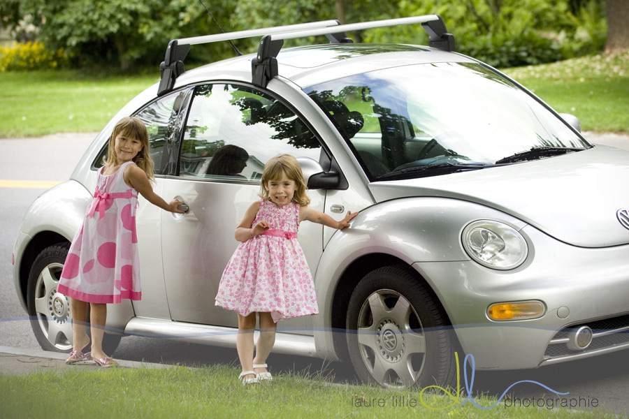 The girls just HAD to ride home with me in the Punch Bug!