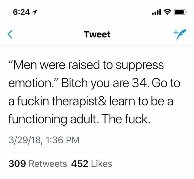 We are all responsible for our mental health; all too often men use women/nb folks to do their emotional labor instead of taking the steps to better themselves.
