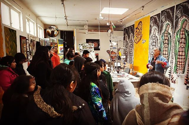 We're truly grateful to have the support of our local art community. El Maestro Duarte welcomes visitors into his studio throughout the year to get a closer look at his art process. #pilsenchicago #muralismo #hectorduarte