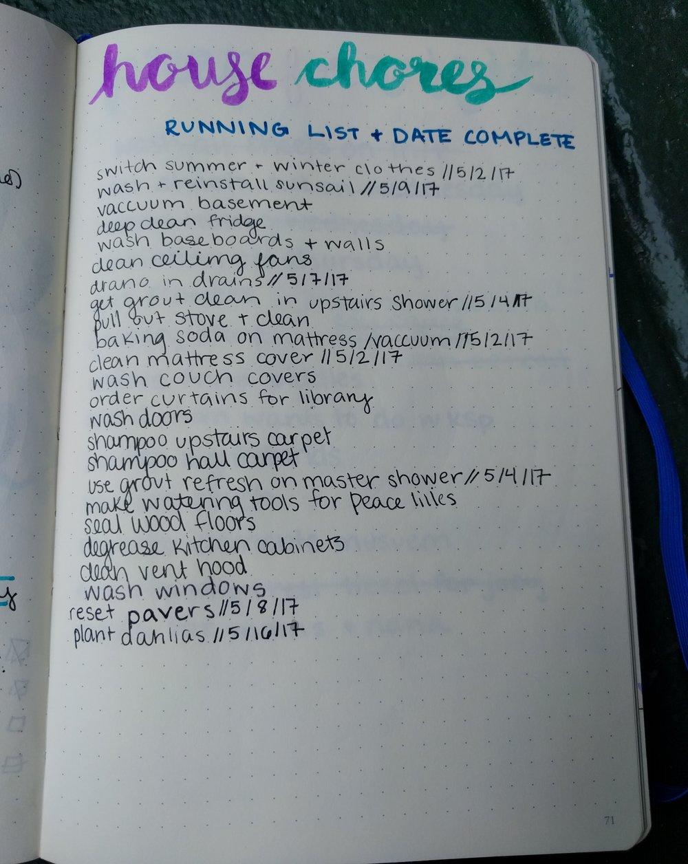 Chore Running List
