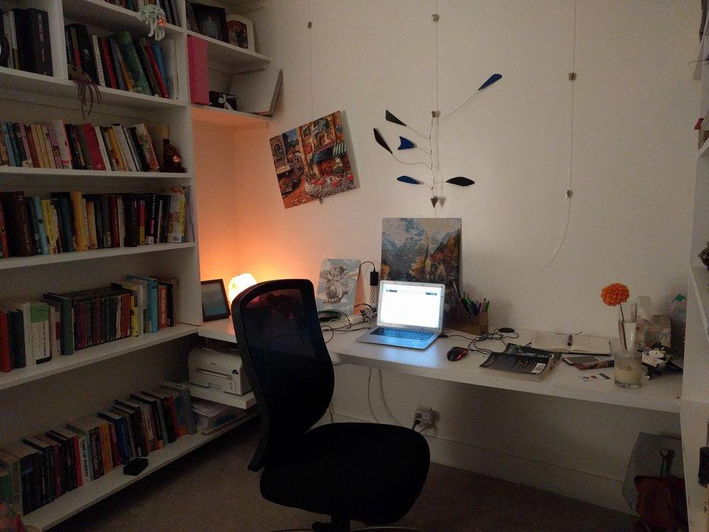 View of my desk from the door