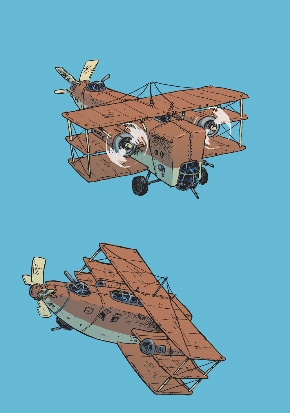 sketches_warthog_bomber2_inks colorJD.jpg
