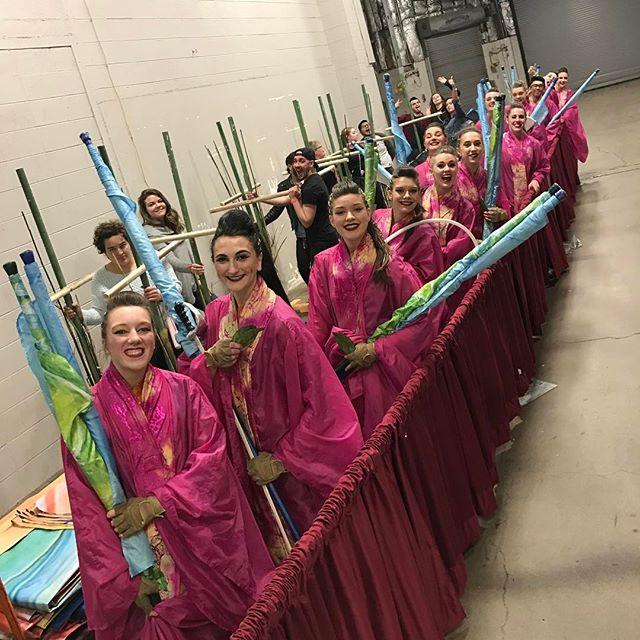 Lined up and ready! #compassrose #colorguard #2017 #mirage #wgisportofthearts #wgiworldchampionships #daytonohio