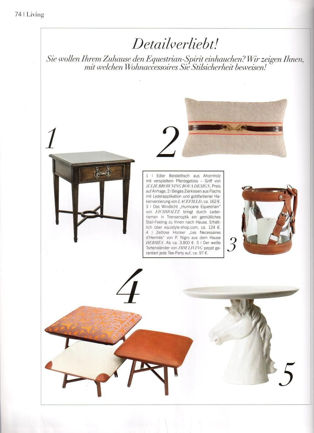 This collage features Julie's Shire End Table that she designed for her collection for Abner Henry Fine Furniture (item #1).