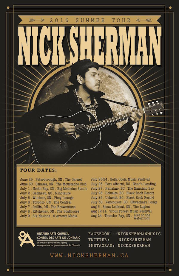 Nick Sherman Summer 2016 Tour Dates