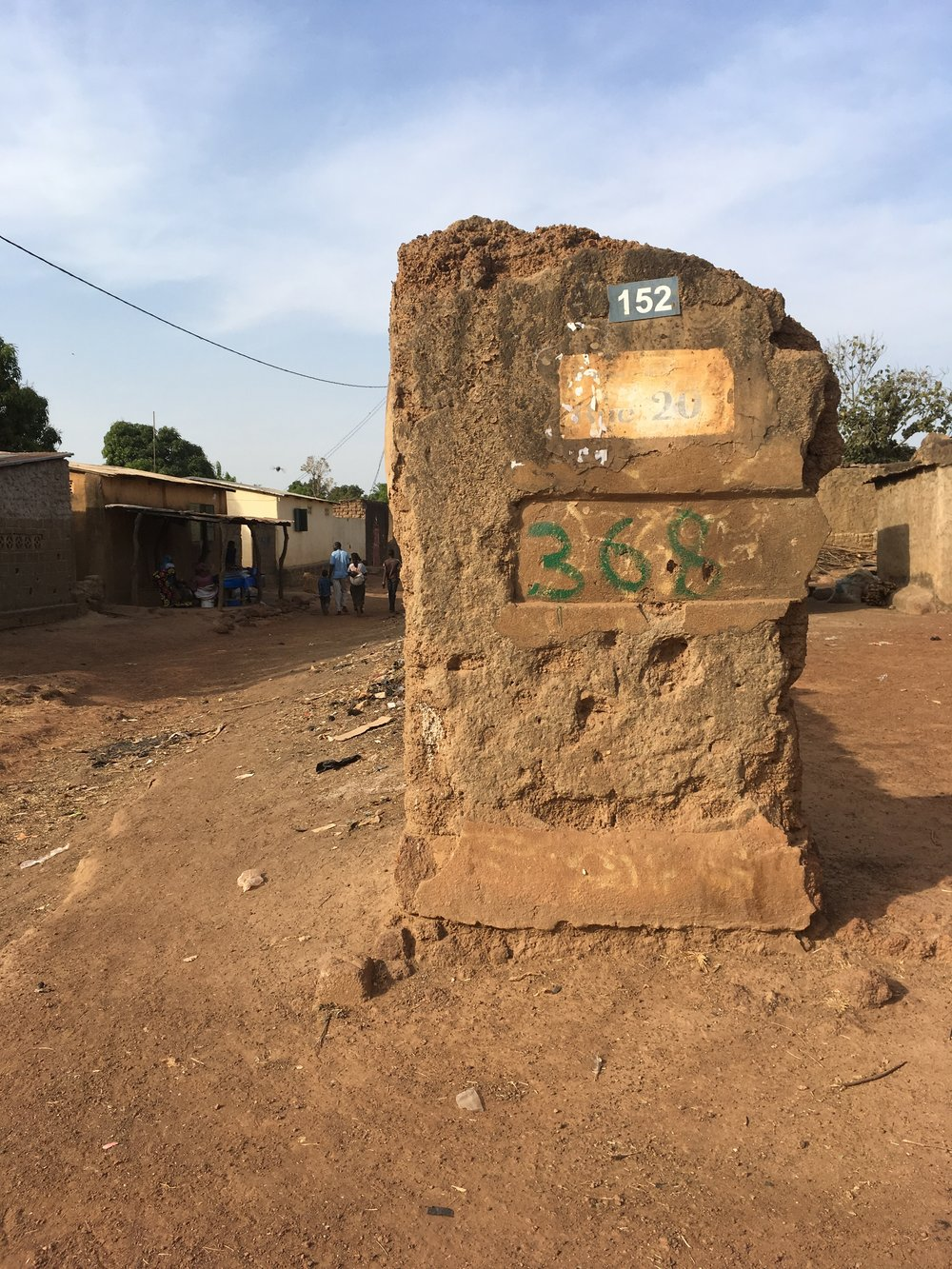 "A corner marker in the ""big"" town of Ouelessebougou."